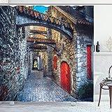 ABAKUHAUS Medieval Cortina de Baño, Old Stone Town House, Material Resistente al Agua Durable Estampa Digital, 175 x 220 cm, Gris Rojo Marrón