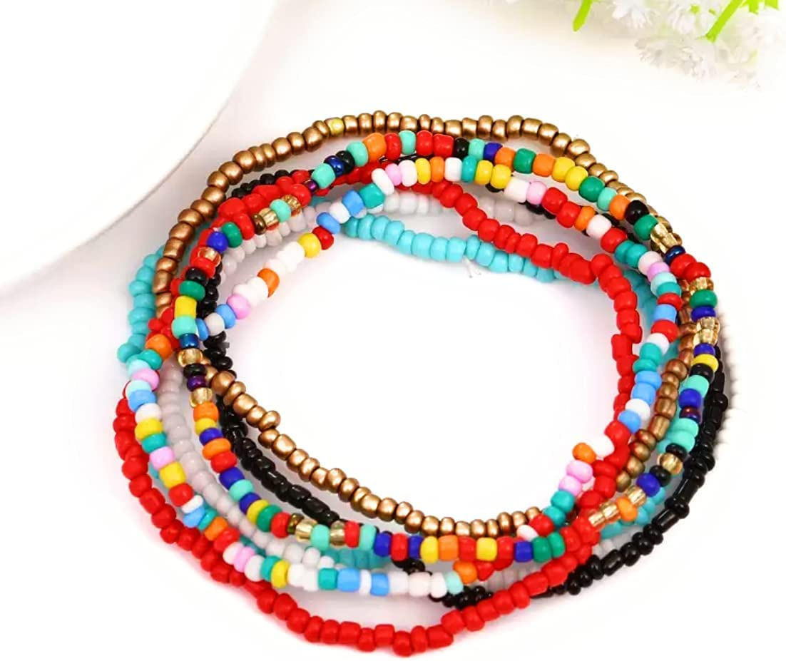 Women Boho Beads Anklets Colorful Stretched Beaded Bracelet for Foot and Hands (7pcs)