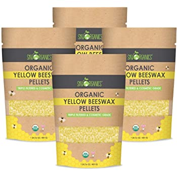 Sky Organics Organic Yellow Beeswax Pellets 100% Pure USDA Organic Bees Wax Pesticide-Free Triple Filtered Easy Melt Beeswax Pastilles for DIY Candles Skin Care Lip Balm, 1lb (Pack of 4)