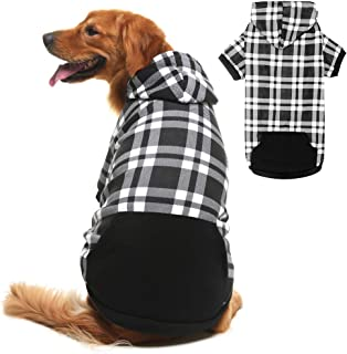 BINGPET Plaid Dog Hoodie Dog Fleece Sweater with Hat Pet Winter Clothes Warm Sweater Coat for Small Medium Large Dogs
