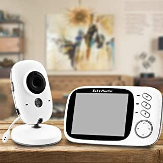 Baby Monitor Audio and Video 3.5 Inch HD LCD Screen 1280 * 720 Two-Way Intercom 24-Hour Infrared Monitoring,Dome Cameras