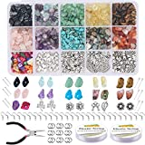 EuTengHao 933Pcs Irregular Chips Stone Beads Natural Gemstone Beads Kit with Ear Wire Spacers Beads Pendants Elastic String Jump Rings for DIY Jewelry Necklace Bracelet Earring Making Supplies
