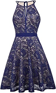 ZSBAYU Women's Floral Lace Dress Short Bridesmaid Dresses with Sheer Neckline Party Dress Short Prom Dress Swing Dress