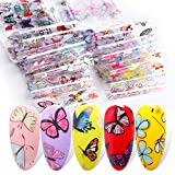 Butterfly Nail Art Foil Transfer Stickers for Women Charms Butterflies Nail Decals 10 Sheets Colorful Butterfly Flowers Foils Starry Sky Holographic Nail Art Supplies DIY Manicure Decoration