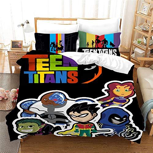 Probuk Juego de ropa de cama de Teen Titans Dc Comics 100% microfibra, ropa de cama para niños y niñas, funda de edredón con funda de almohada (A-08,220 x 240 cm (50 x 75 cm)