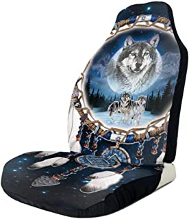 Wolf and Indian Dream Catcher Front Seat Covers 2 Pc,Car Seat Covers Front Seats Only Universal Fit,SUV & Truck