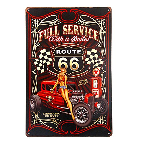 dingleiever-Full Service Hot Rod Route 66 Die Cut Metal Sign pin up Girls with Smile Vintage Garage Wall Art