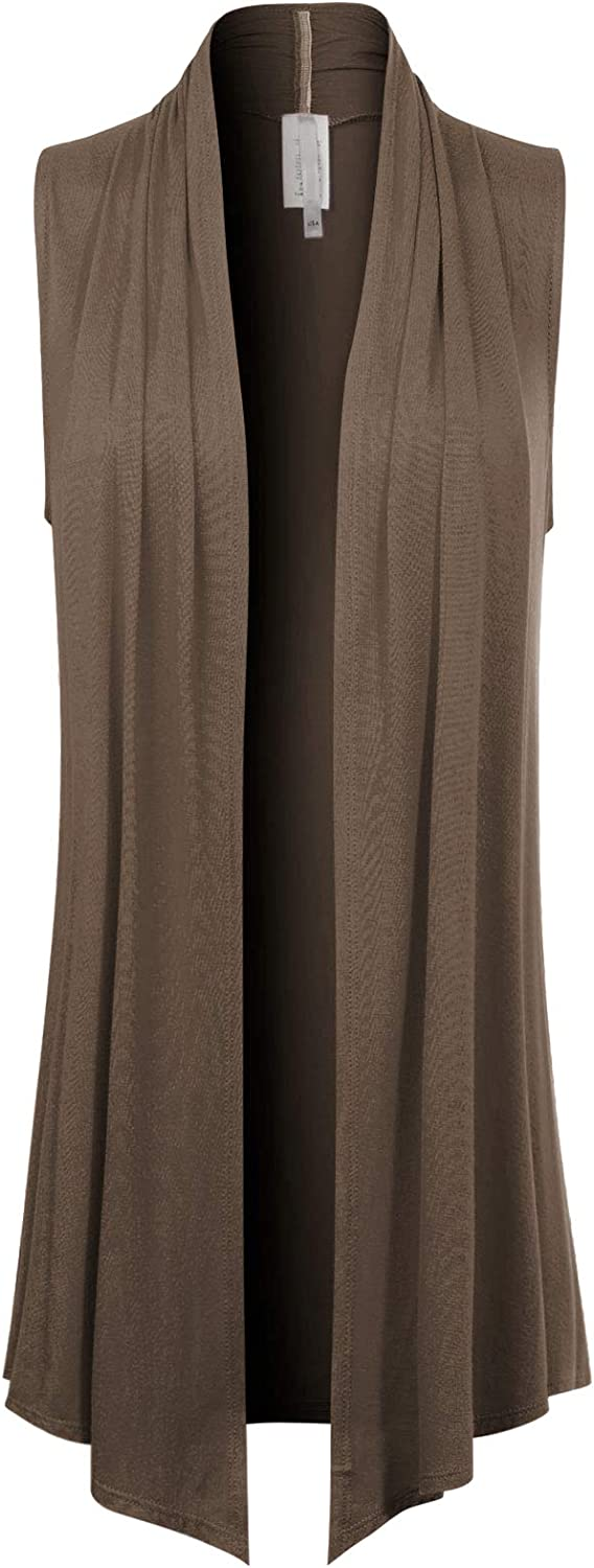Design by Olivia Women's [Made in USA] Open Front Draped Waterfall Sleeveless Shawl Cardigan Vest (S-3XL)