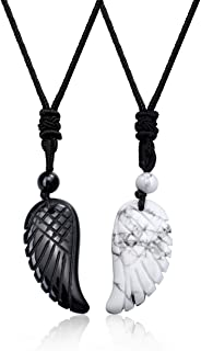 JSDDE - Set di 2 ciondoli a forma di ali d'angelo, con pietra preziosa, per coppie, amuleto e amuleto