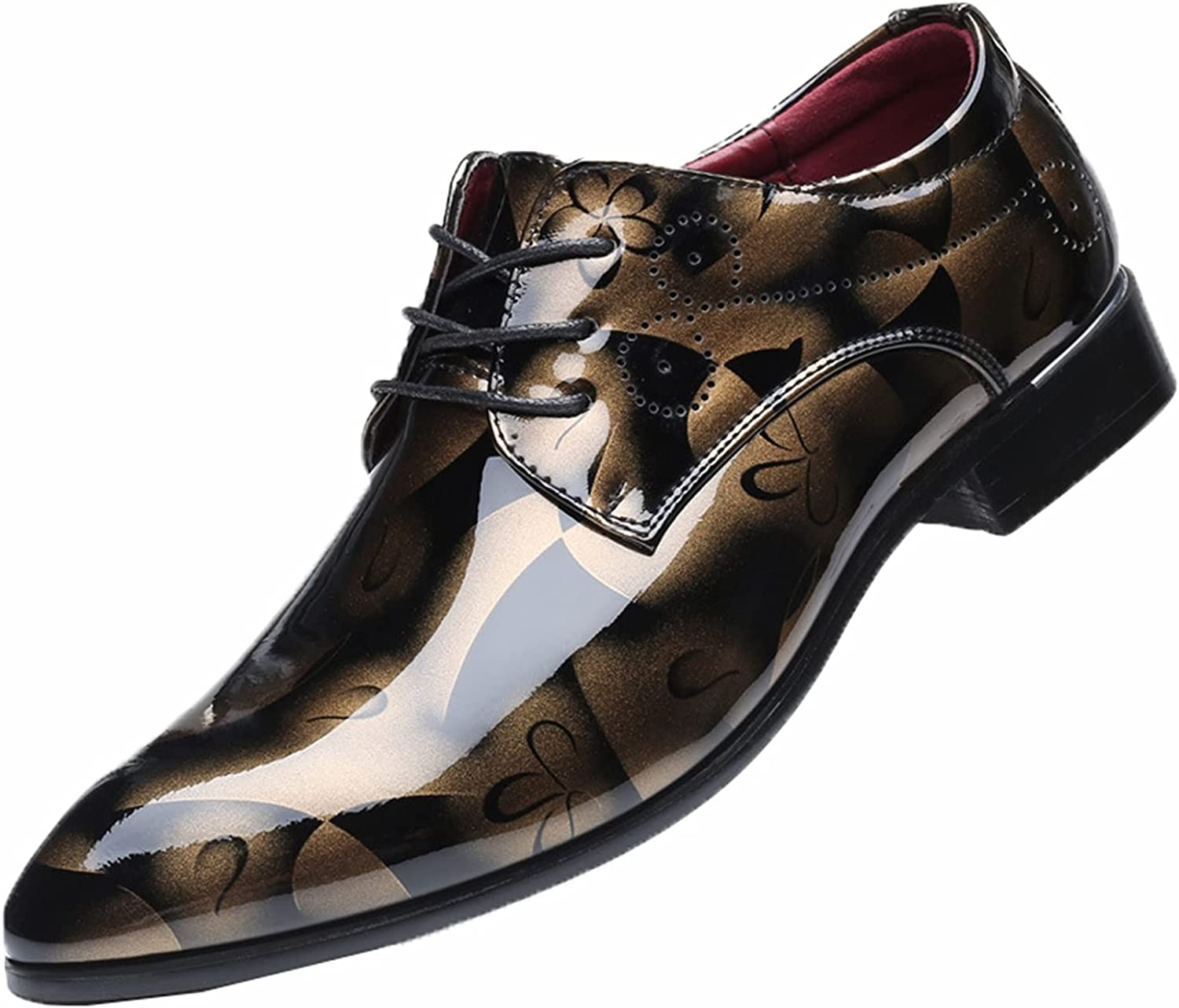 Men Dress Shoes Vintage Breathable Patent Leather Lace up Floral Print Derby Shoes Formal Pointed Toe Wedding Business Shoes