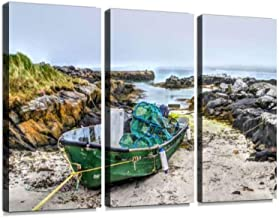 Lobster Pots & Old Rock Harbour Walls in The North of The Isle of Barra, 3 Pieces Print On Canvas Wall Artwork Modern Phot...