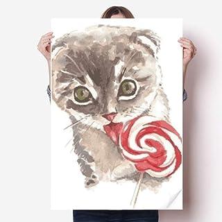DIYthinker Little Cat Lollipop Watercolor Animal Vinyl Wall Sticker Poster Mural Wallpaper Room Decal 80X55Cm