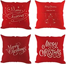 Unionm 31# Pillow Covers Christmas Decor Throw Pillow Case Linen Red Merry Christmas Theme Printed Square 45 x 45 cm 18 x 18 inch Cushion Cover for Home Sofa Car Pack of 6