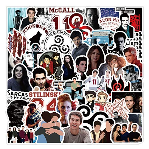 American TV Series Sticekrs Teen Wolf Stickers for Hydro Flask, 50PCS Vinyl Decal for Laptop Water Bottle Bike Guitar Luggage Phone Computer Skateboard (Teen Wolf)