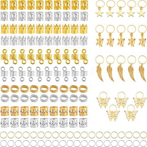 160 Piezas de Dreadlocks Bobina de Pelo Anillas de Trenza de Pelo...