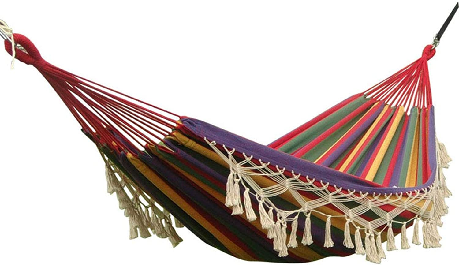 Brazilian Style Double Hammock with Tassel, Supreme Comfort Lightweight Double Hammocks  for Patio, Porch, Use in Exterior and Interior Hammock