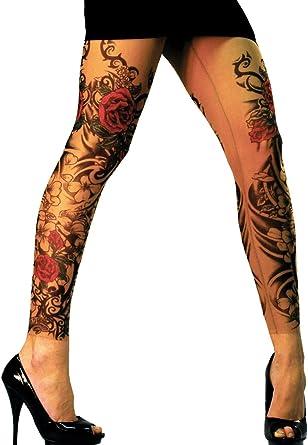 Wild Rose Ladies Flamenco Tattoo Mesh Leggings Red Rose Blackwork, Tan