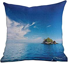 Matt Flowe Colorful Throw Pillow,Island,Small Island in Trat Archipelago,Thailand Reef Rock Diving Trip Sunny Day Landscape,Blue Green,Apply to office20 x20
