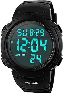 Orologi da uomo sportivo digitale - 50 m impermeabile sport orologio con cronometro, nero Big Face corsa orologio da polso...