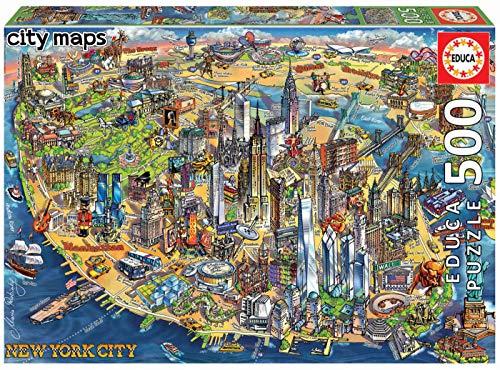 Educa - Mapa de Nueva York Puzzle, 500 Piezas, Multicolor (18453)