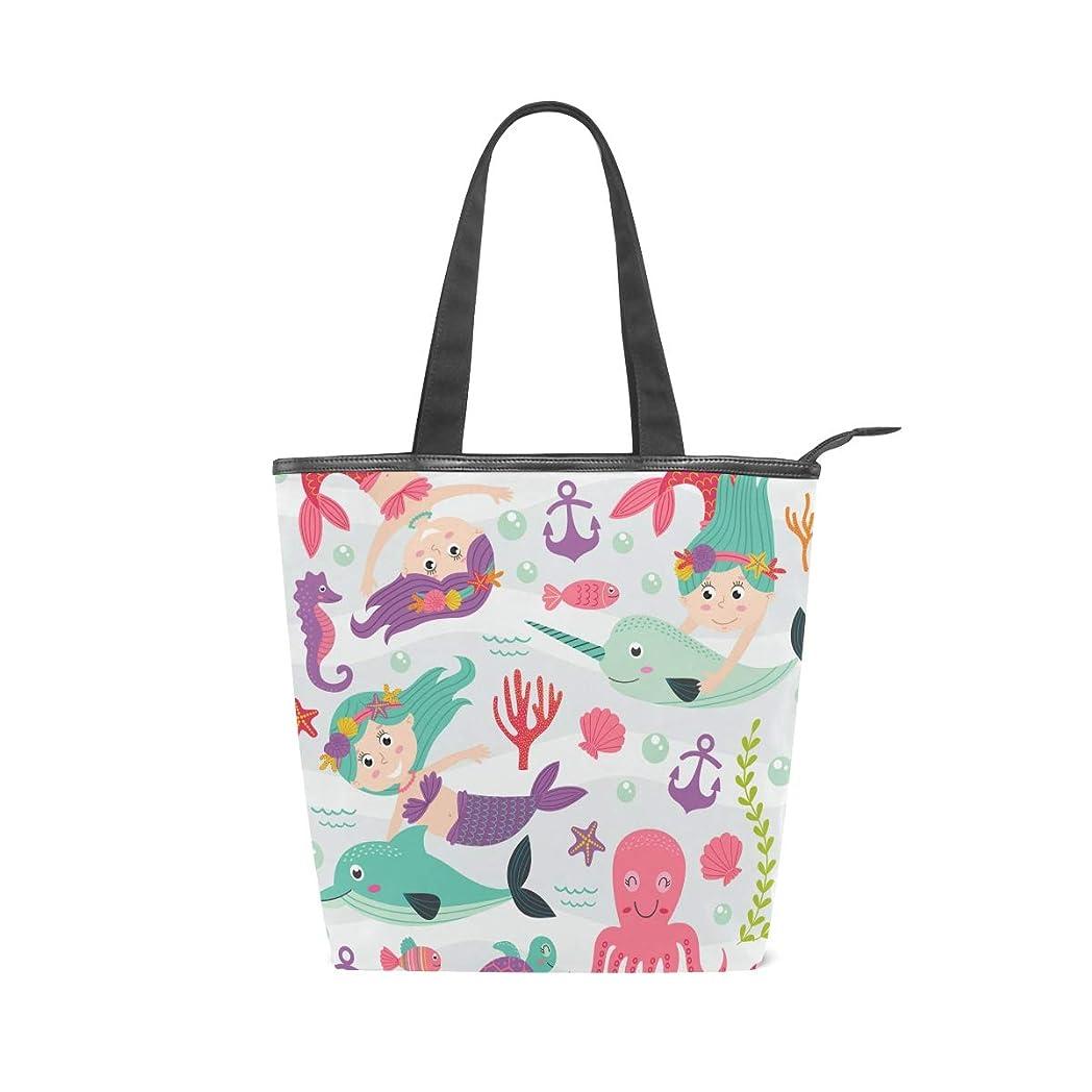 笑いサルベージエッセンスキャンバスバッグ トートバッグ ハンドバッグ 手提げ 人魚 豚 漫画 大容量 通勤通学 メンズ レディース