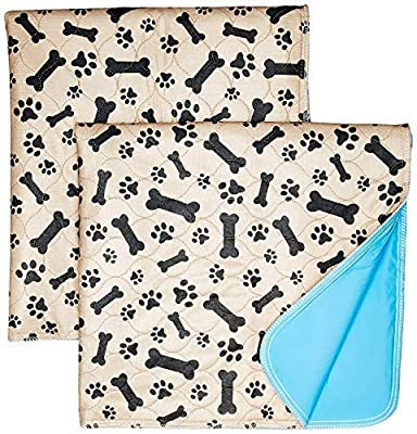 Washable Pee Pads for Dogs Whelping Reusable (2-Pack) Quilted Large 35 x 31 Extra Absorbent Layered Waterproof Mat Puppy Adult Senior Pets Pooch   Home Travel or Crate Training Whelping Dog Wee Wee L