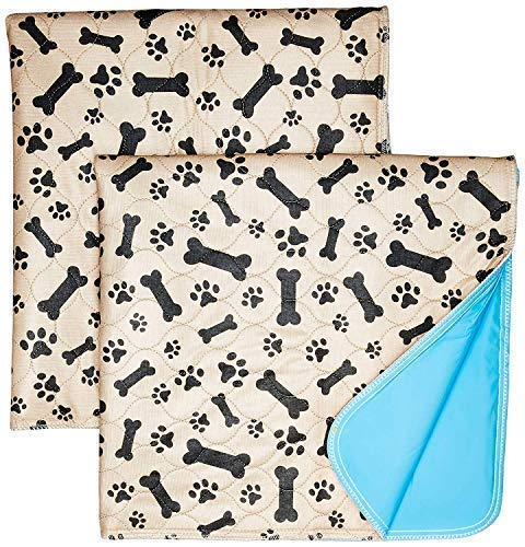Washable Pee Pads for Dogs Whelping Reusable (2-Pack) Quilted Large 35 x 31 Extra Absorbent Layered Waterproof Mat Puppy Adult Senior Pets Pooch | Home Travel or Crate Training Whelping Dog Wee Wee L