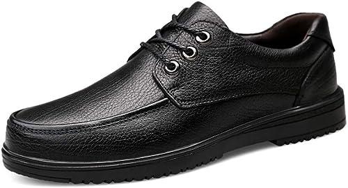 Glhkkp-chaussures Chaussures habillées élégantes en en Cuir élégantes p Loisirs légers Conduite Cuir Mocassins Richelieus en Cuir jusqu'à Bout Rond Chaussures Plates Penny (Couleur   Noir, Taille   43 EU)