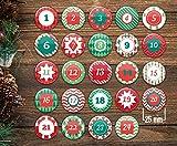 stylebutton 24 Adventskalender Buttons: Bunte, nummerierte Anstecker Xmas 2' zum selber Basteln von...