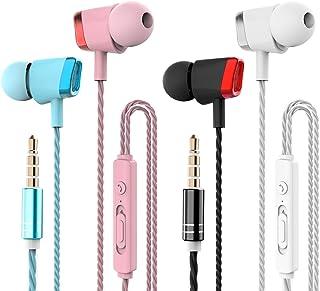 4 Pares Auriculares, CBGGQ Auriculares in-ear con micrófono, auriculares con cable de 3,5 mm para ajustar el volumen, esté...