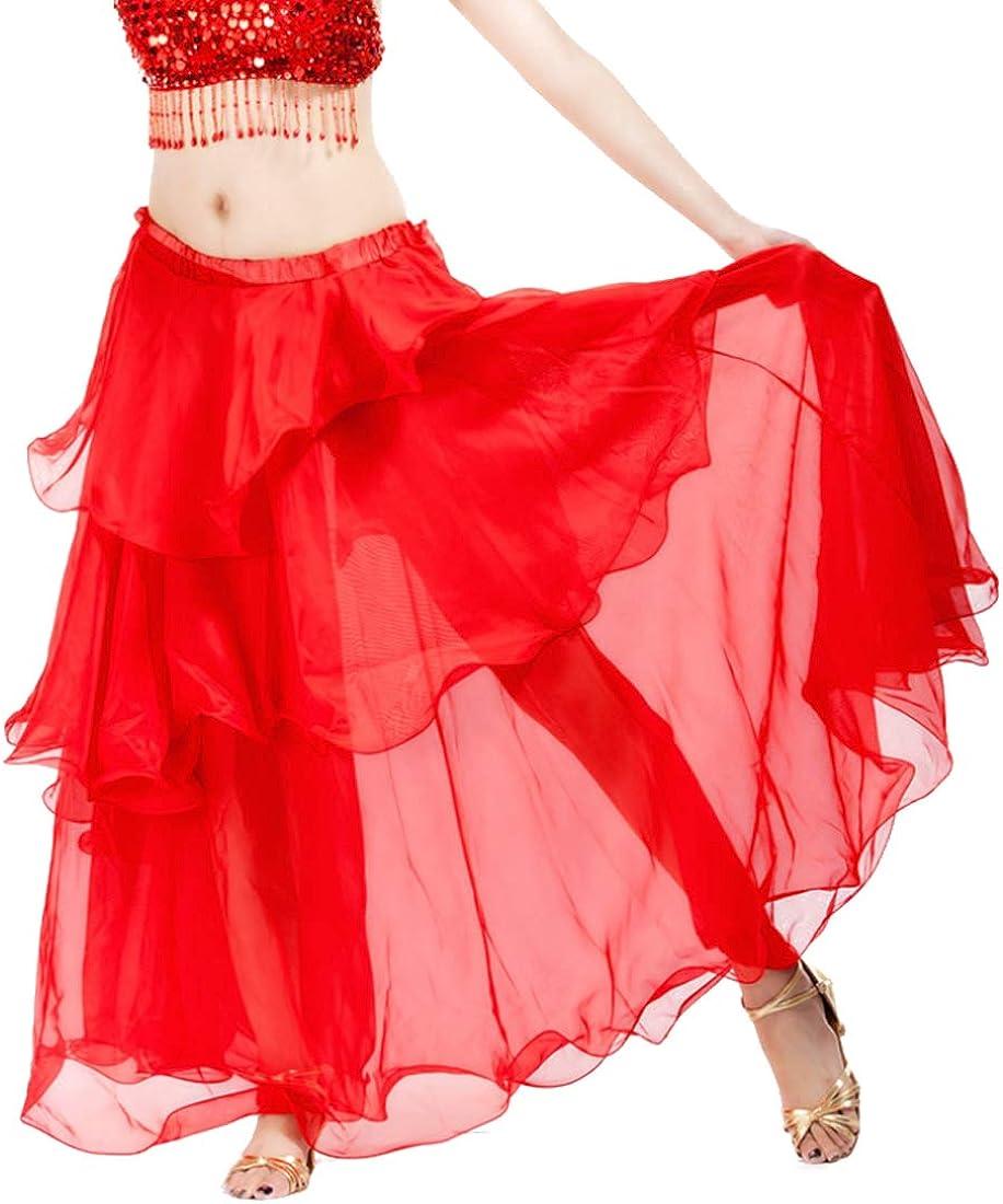 Fulision Women's Casual Spiral Skirt Latin Chiffon Belly Dance Swing Skirt