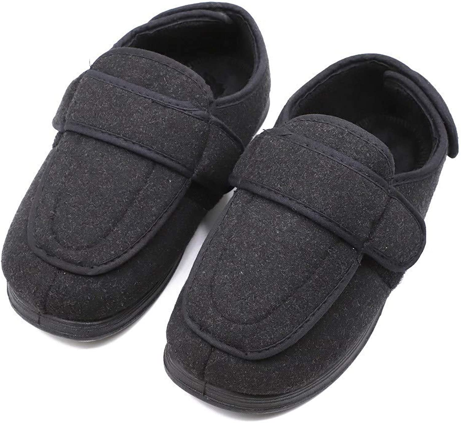 Rong Men's Memory Foam Slippers Diabetic Arthritis Edema Swollen Adjustable Extra Wide House shoes Indoor Outdoor