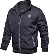 iHHAPY Men's Mountain Jacket Windproof Coat Casual Jacket Autumn Winter Thermal Outwear Pure Color Coat Zipper Jacket