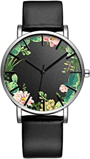 Fashion Luxury Butterfly Cactus Flowers Floral Print Leather Strap Quartz Men Women Girl Wristwatch