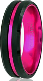 black and pink tungsten ring