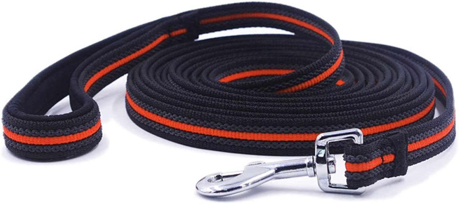 BIBSS Padded Handle Heavy Duty Reflective Dog Leash 6FT 10FT 15FT 33FT 50FT Length Outdoor Training Hiking Playing Leash (15FT, Black orange)