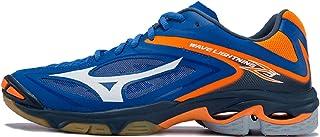 MIZUNO V1GA170083 Wave Lightning Men's Volleyball Shoes, Strong Blue/White/Orange Clownfish