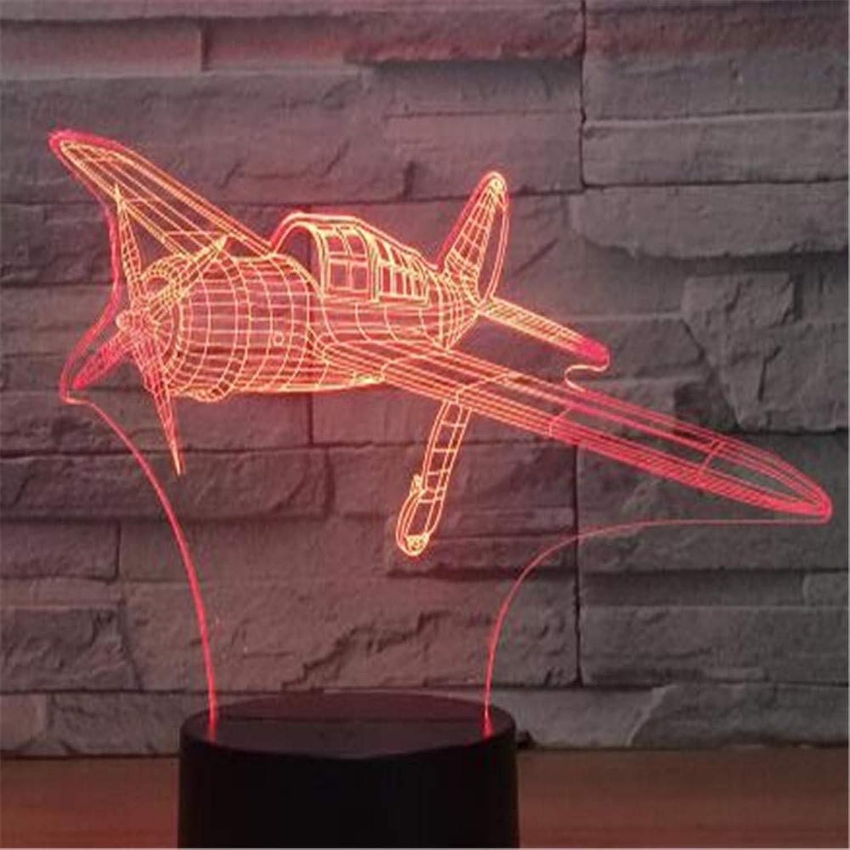RTFC Night Light 7 color 3D Light Led Table Lamp Slide Light Night Light Change Mood Aircraft Light Battery Powered USB Light