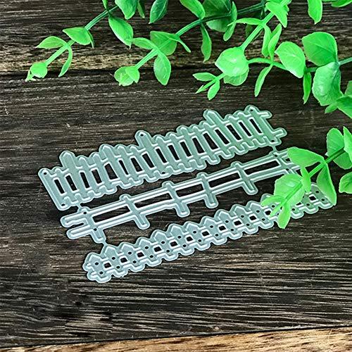 Troqueles de corte Muzhili3, 3 piezas de valla, troquel de corte de metal, bricolaje, tarjetas de papel para álbumes de recortes, plantilla para manualidades