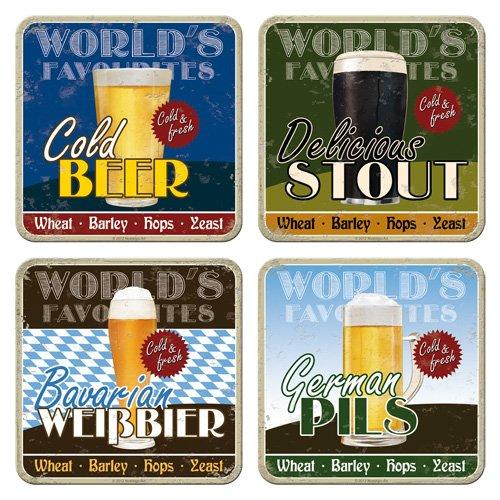 Nostalgic-Art 46011 Bier en sterke drank World's Favourite Beers, onderzetterset, 4-delig