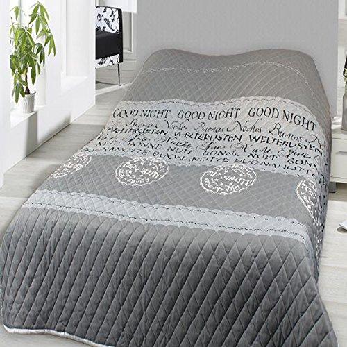 Home Edition Tagesdecke wattiert und gesteppt 240x220cm Sofaüberwurf Bettüberwurf Good Night
