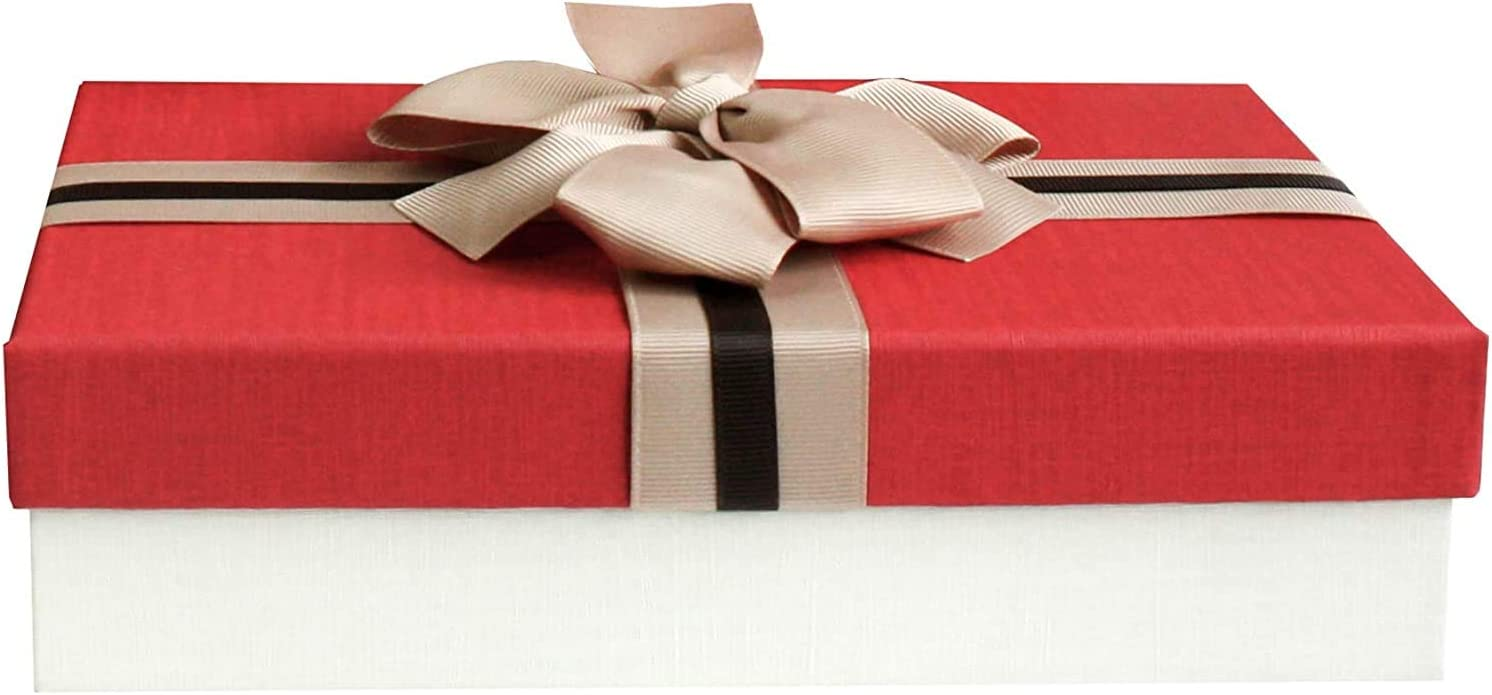 Bo/îte cadeau de luxe cr/ème avec couvercle bleu Taille moyenne Bo/îte cadeau premium avec n/œud d/écoratif