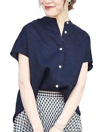 38c74fdb77fea ブラウス レディース シャツ 半袖 綿麻 ポロシャツ ゆったり目 通勤シャツ カジュアル オシャレ 大人っぽく