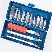 Juego de cuchillos para manualidades, juego de cuchillos de precisión de 13 piezas con mango de 3 cuchillas 10 cuchillas y estuche