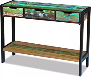 Shengtaieushop Sideboard mit 3 Schubladen aus recyceltem Massivholz