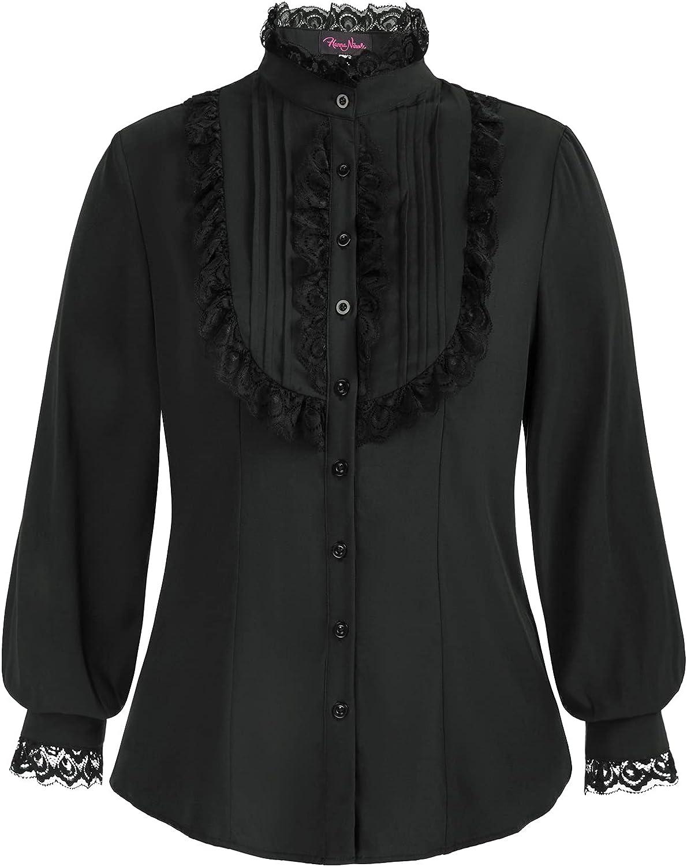 Victorian Blouse Womens Gothic Lolita Plus Size Long Sleeve Retro Ruffle Steampunk Tops