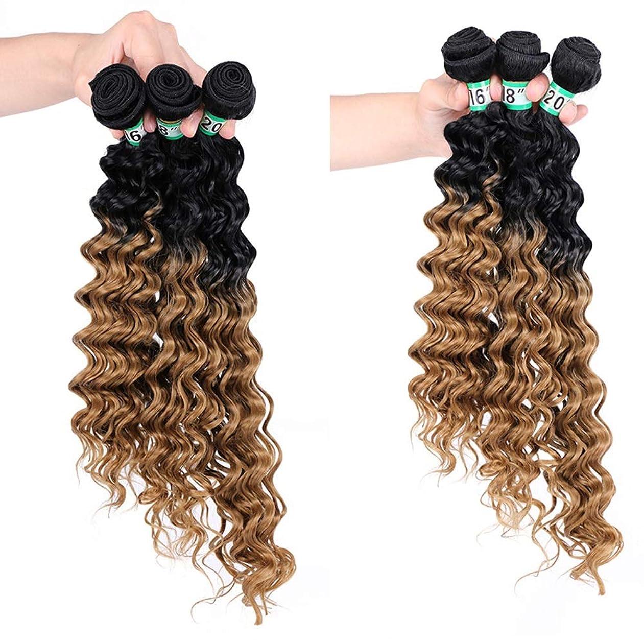 力強い経済的ミトンYESONEEP ディープカーリーウェーブ3バンドルブラジルのヘアエクステンション - T1 / 27#茶色の合成髪レースかつらロールプレイングかつらロングとショートの女性自然 (色 : ブラウン, サイズ : 16