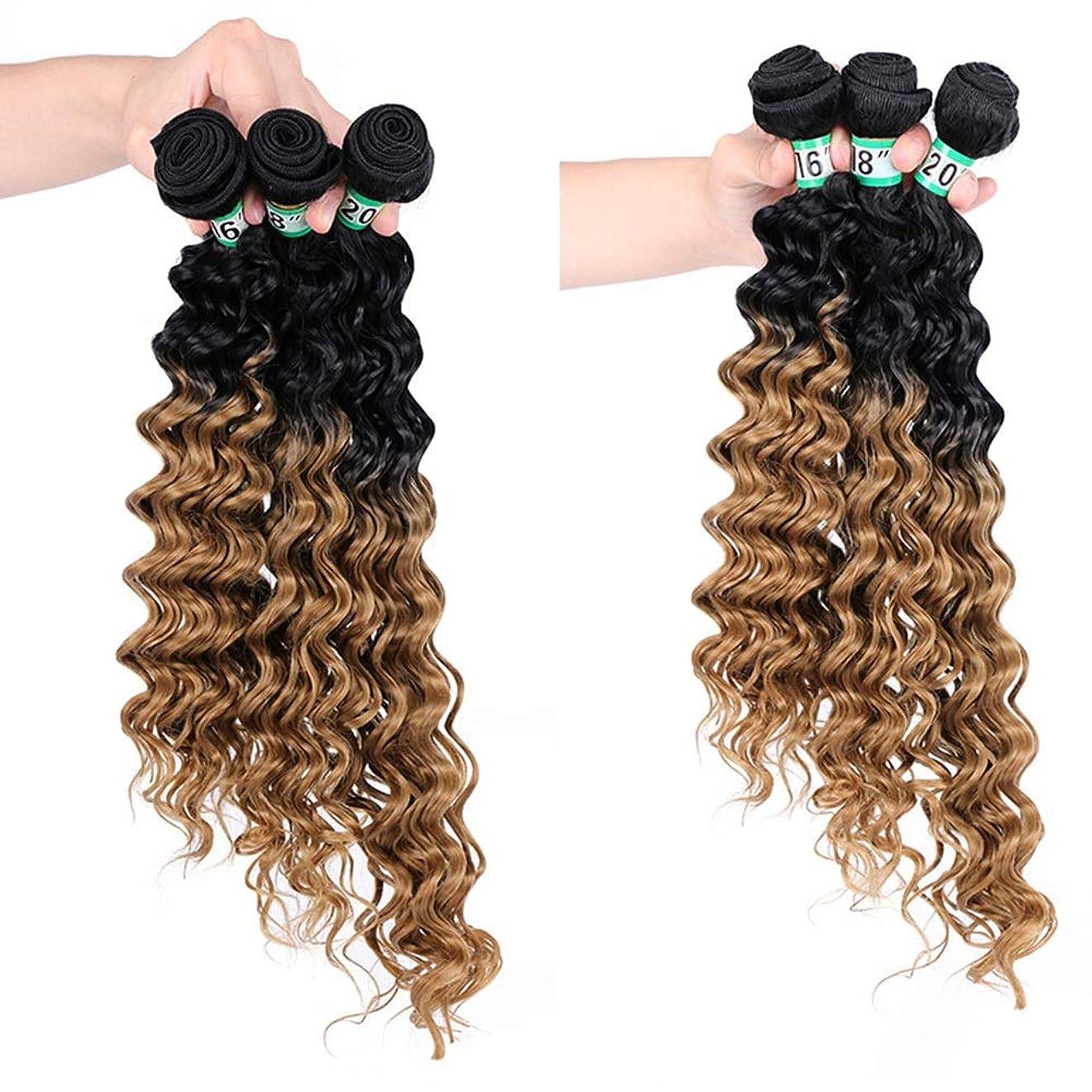 ウガンダバッテリー銃YESONEEP ディープカーリーウェーブ3バンドルブラジルのヘアエクステンション - T1 / 27#茶色の合成髪レースかつらロールプレイングかつらロングとショートの女性自然 (色 : ブラウン, サイズ : 16