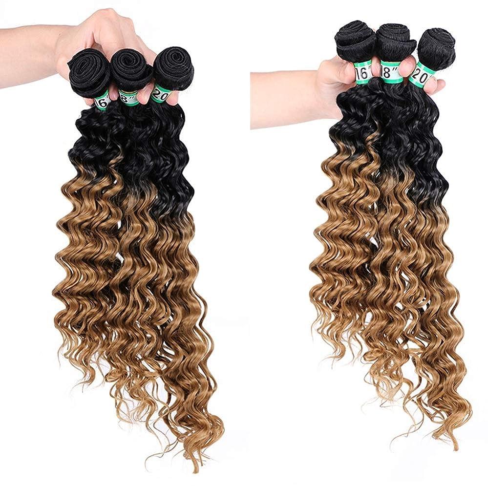 広々資本おBOBIDYEE ディープカーリーウェーブ3バンドルブラジルのヘアエクステンション - T1 / 27#茶色の合成髪レースかつらロールプレイングかつらロングとショートの女性自然 (色 : ブラウン, サイズ : 16