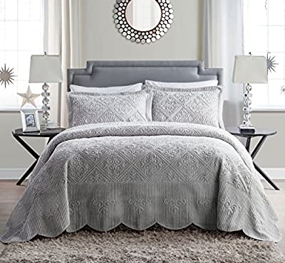 VCNY Home   Westland Collection   Soft and Plush Quilted Faux Mink Fur Bedspread, Premium 3 Piece Bedding Set, Elegant and Charming Design for Home Décor, King, Grey by Victoria Classics Company
